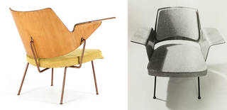 (Left): Royal Festival Hall lounge chair, designed by Robin Day, produced by Hille, 1951. Robin & Lucienne Day Foundation/Courtesy Paul A. Shutler. (Right): 700 armchair, designed by Robin Day, produced by Hille, about 1956. © Robin & Lucienne Day Foundation/photo: Tony Mann