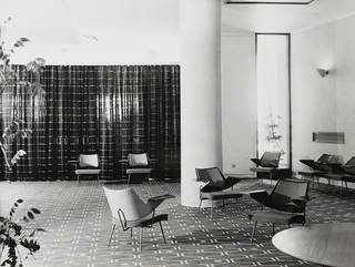 Royal Festival Hall lounge chairs, designed by Robin Day, produced by Hille, 1951, in situ at the Royal Festival Hall, 1951. © Robin & Lucienne Day Foundation