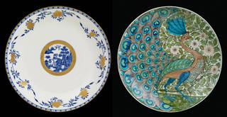 (Left) Plate, Minton, 1876, Stoke, England. Museum no. C.75-2013. © Victoria and Albert Museum, London; (Right) Dish,  William De Morgan, about 1888 – 98, England. Museum no. C.261-1915. © Victoria and Albert Museum, London