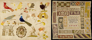 (Left) Sampler, unknown, 1770 – 1799, Mexico. Museum no. T.91-1954. © Victoria and Albert Museum, London. (Right) Sampler, Virginia Samtibañes, 1870, Mexico. Bequeathed by Alfred Percival Maudslay. Museum no. T.288-1928. © Victoria and Albert Museum, London