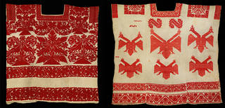 (Left) Huipil (woman's tunic), unknown, 1800s, Oaxaca state, Mexico. Museum no. T.75-1922. © Victoria and Albert Museum, London. (Right) Huipil (woman's tunic), unknown, 1850 – 1907, Oaxaca state, Mexico. Museum no. T.264-1928. © Victoria and Albert Museum, London