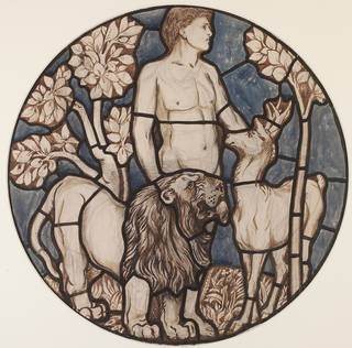 Adam naming the lion and the roebuck, design for stained glass, Philip Webb, 1861, England. Museum no. E.1289-1931. © Victoria and Albert Museum, London