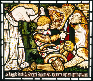 Panel, stained and painted glass, designed by Dante Gabriel Rossetti, made by Morris, Marshall, Faulkner & Co., 1862, England. Museum no. C.319-1927. © Victoria and Albert Museum, London