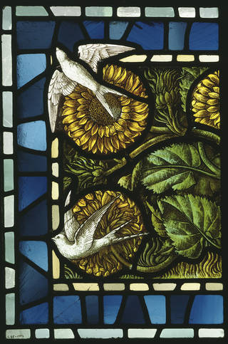 Panel, stained and painted glass, designed by Carl Almquist, made by Shrigley and Hunt, about 1886, England. Museum no. C.65-1978. Given by D. C. N. Hudson. © Victoria and Albert Museum, London