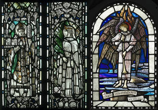 (Left): Panel, stained and painted glass, Christopher Whall, 1901 – 1910, England. Museum no. C.88-1978. © Victoria and Albert Museum, London. (Right): Panel, stained and painted glass, Veronica Whall, about 1925, England. Museum no. C.65-1973. © Victoria and Albert Museum, London