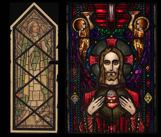 (Left): Design for stained glass for Khartoum Cathedral, Mabel Esplin, about 1912, possibly Sudan, Museum no. E.2302-1934. © Victoria and Albert Museum, London. (Right): Apparition of the Sacred Heart, panel of clear, coloured and flashed glass, acided, stained and with painted details, Harry Clarke, desiged 1918, made 1940, Dublin, Museum no. C.48-1982. © Victoria and Albert Museum, London