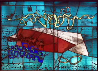 Brittany Beach, panel of stained and painted glass, designed by John Piper, made by Patrick Reyntiens, about 1965, England. Museum no. C.74-1981. © Victoria & Albert Museum, London