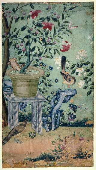 Photo of Panel of Chinese wallpaper, unknown maker, about 1750 – 1800, probably Canton, China. Museum no. E.3944-1915. © Victoria and Albert Museum, London