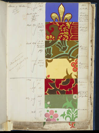 Photo of Page from a sample book of wallpapers supplied for the decoration of the Palace of Westminster, A.W.N Pugin, 1851 – 9. Museum no. E.137:10-1939. © Victoria and Albert Museum, London
