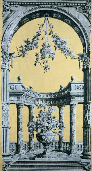Photo of Portion of a classical 'pillar and arch' wallpaper, unknown maker, about 1769, England. Museum no. E.964-1926. © Victoria and Albert Museum, London