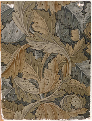 Photo of Acanthus wallpaper, designed by William Morris, manufactured by Jeffrey & Co., 1875, England. Museum no. E.800-1915. © Victoria and Albert Museum, London