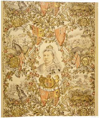 Photo of Portion of wallpaper with a design commemorating Queen Victoria's Golden Jubilee, F. Scott & Son, 1887, Hawick, Scotland. Museum no. E.791-1970. © Victoria and Albert Museum, London