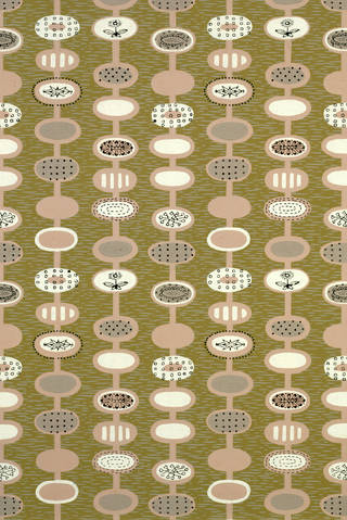 Photo of Portion of 'Provence' wallpaper, designed by Lucienne Day, manufactured by John Line & Sons Ltd., 1951, England. Museum no.  E.569-1966. © Victoria and Albert Museum, London