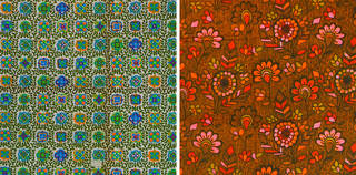 Left: Broderie, furnishing fabric, Morton Sundour Fabrics Ltd., 1960 – 70. Museum no. T.2218-2018. © Victoria and Albert Museum, London. Given by Sara Lee Courtaulds. Right: Coranto, furnishing fabric,  Morton Sundour Fabrics Ltd., 1960 – 70. Museum no. T.2226-2018. © Victoria and Albert Museum, London. Given by Sara Lee Courtaulds.