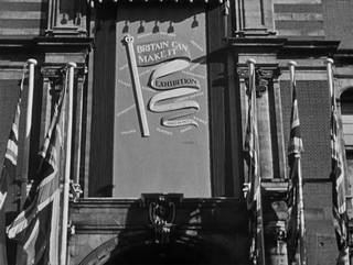 Still from 'Britain Can Make It No.12' (1946 Crown © / courtesy BFI), showing the V&A's Exhibition Rd entrance advertising the exhibition.