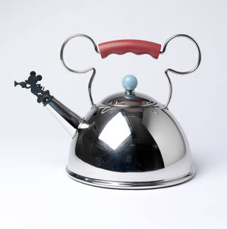 Photo of The Mickey Mouse Gourmet Collection, kettle, Michael Graves, 1991, made in China and retailed in the US. Museum no. M.29:1 to 3-2010. © Victoria and Albert Museum, London