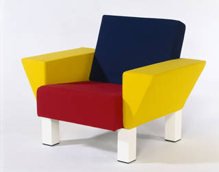 Photo of Westside Lounge, armchair, Ettore Sottsass Jr, 1983, Italy. Museum no. W.20-1990. Given by Knoll International. © Victoria and Albert Museum, London