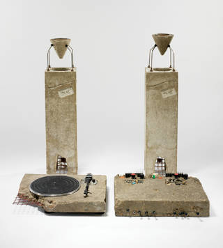 Photo of Concrete Stereo, stereo system, Ron Arad, 1983, UK. Museum no. W.7:1 to 6-2011. © Victoria and Albert Museum, London