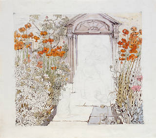 Setting for 'The Veal and Ham Pie', by Beatrix Potter, about 1902, watercolour and pen and ink over pencil. Museum no. BP.502, Linder Bequest cat. no. LB 751.  © Victoria and Albert Museum, London, courtesy Frederick Warne & Co Ltd.