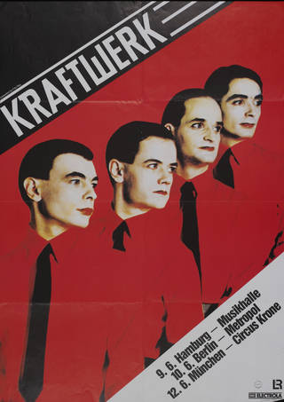 Photo of Poster advertising the music group Kraftwerk at Musikhalle, Hamburg, unknown. Museum no. S.4085-1995. © Victoria and Albert Museum, London