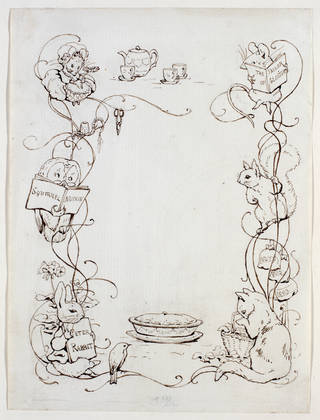Unfinished endpaper design for the little books, version of design No. 1, by Beatrix Potter, 1902, pencil, pen and ink. Museum no. BP. 466 , Linder Bequest cat. no. LB 942. © Victoria and Albert Museum, London, courtesy Frederick Warne & Co Ltd.