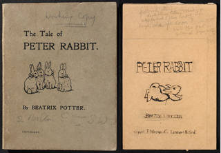 (Left to right:) Design for the endpaper used in the fifth printing of The Tale of Peter Rabbit, by Beatrix Potter, December 1903, watercolour and pen and ink. Museum no. BP.466, Linder Bequest cat. no. LB 942. © Victoria and Albert Museum, London, courtesy Frederick Warne & Co Ltd.; Preliminary layout for cover of Frederick Warne published Tale of Peter Rabbit, by Beatrix Potter, about 1902, watercolour. Museum no. BP.590, Linder Bequest cat. no. LB 912. © Victoria and Albert Museum, London, courtesy Frederick Warne & Co Ltd.