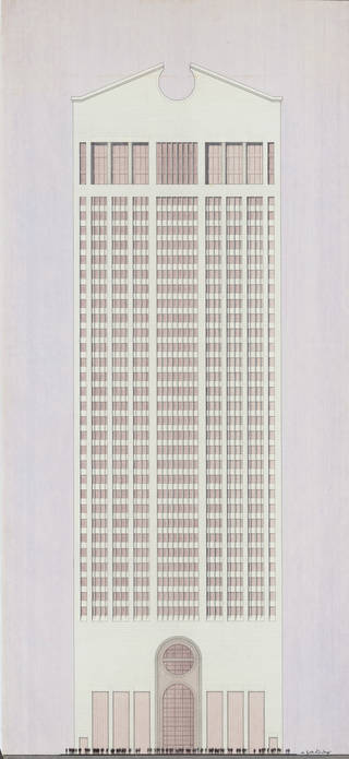 Photo of Design for the the AT&T Building, Philip Johnson and John Burgee, 1978, US. Museum no. E.522-2010. © Victoria and Albert Museum, London