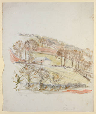 Landscape at Sidmouth, background study for The Tale of Little Pig Robinson, by Beatrix Potter, about 1904, watercolour over pencil. Museum no. BP.1127(viii), Linder Bequest cat. no. LB 828. © Victoria and Albert Museum, London, courtesy Frederick Warne & Co Ltd.