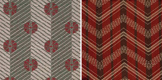 Left: Spot and Stripe, furnishing fabric, Enid Marx, 1946, England. Museum no. CIRC.221K-1949. © Victoria and Albert Museum, London. Right: Chevron, furnishing fabric, Enid Marx, 1946, England. Museum no. CIRC.203-1949. © Victoria and Albert Museum, London.