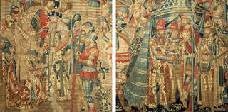 Left: Detail showing Queen Penthesilea and King Priam. Right: Detail showing Pyrrhus recieving Achilles' armour, The War of Troy, tapestry, unknown maker, 1475 – 90, Tournai, Belgium. Museum no. 6-1887. © Victoria and Albert Museum, London.