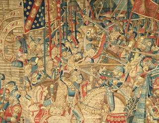 The War of Troy (detail showing central battle scene), tapestry, unknown maker, 1475 –90, Tournai, Belgium. Museum no. 6-1887. © Victoria and Albert Museum, London