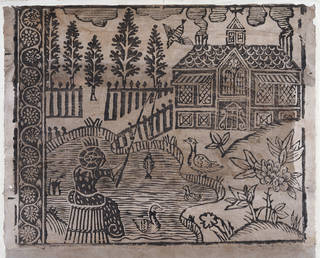 Portion of lining paper with pictorial design, artist unknown, late 17th century, England, woodblock print. Museum no. E.405-1968. © Victoria and Albert Museum, London