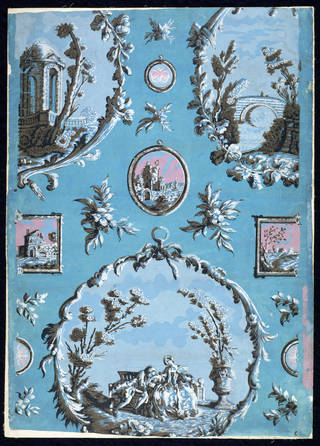 Imitation 'Print Room' wallpaper, hung in Doddington Hall, Lincolnshire, about 1760, England, colour woodblock print on paper. Museum no. E.747.1914. © Victoria and Albert Museum, London