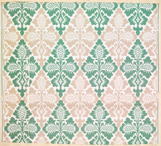 Portion of wallpaper with a pattern of conventional foliage in a lozenge pattern, maker unknown, about 1850 – 60, England. Museum no. E.172-1934. © Victoria and Albert Museum, London