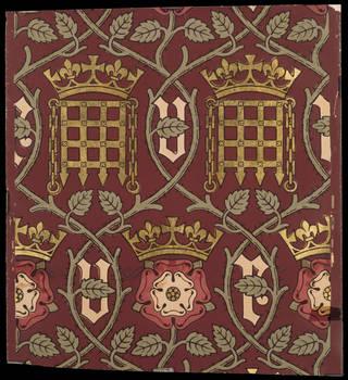 Heraldic pattern wallpaper, A. W. N. Pugin, 1848, London. Museum no. E.150-1976. © Victoria and Albert Museum, London