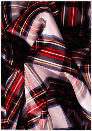 Sample from large wallpaper panel with digital image of ruched tartan fabric, designed by Vivienne Westwood, manufactured by Cole & Son (Wallpapers) Ltd., 2009, UK. Museum no. E.1477:43-2011. © Victoria and Albert Museum, London