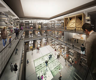 Internal render view of the central public collection hall in the new V&A collection and research centre at Here East, designed by Diller Scofidio + Renfro. © Diller Scofidio + Renfro, 2018
