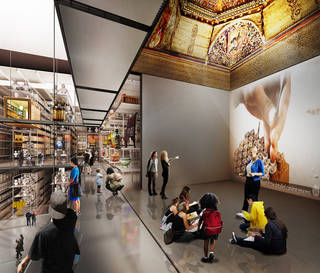Internal render showing how a marquetry ceiling from the now-destroyed Altamira Palace near Toledo, Spain,  about 1490, will be installed as a real architectural element within the centre. © Diller Scofidio + Renfro, 2018