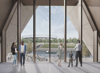 Internal render view of the new V&A museum at Stratford Waterfront, designed by O'Donnell + Tuomey. © O'Donnell + Tuomey / Ninety90, 2018