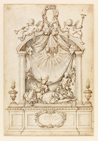 Design for the monument to Dorothy, Lady Brownlow, in St Nicholas's Church, Sutton, William Stanton, about 1700, England. Museum no. D.1104-1898. © Victoria and Albert Museum, London