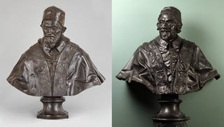 (Left) Pope Innocent X, Domenico Guidi, about 1690, Italy. Museum no. 1088-1853. © Victoria and Albert Museum, London; (Right) Pope Alexander VIII, Domenico Guidi, about 1690, Italy. Museum no. 1089-1853. © Victoria and Albert Museum, London
