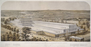 Aeronautic view of The Palace of Industry For All Nations (Crystal Palace), from Kensington Palace, print by Charles Burton, 1851, England. Museum no. 19614. © Victoria and Albert Museum, London
