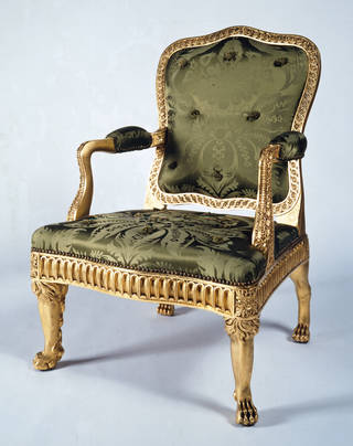 Armchair, part of set of seat furniture made for the Painted Room at Spencer House, London, designed by James 'Athenian' Stuart, about 1759 – 65, London. Museum no. W.10-1977. © Victoria and Albert Museum, London