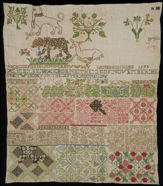 Sampler, Jane Bostocke, 1598, England. Museum no. T.190-1960. © Victoria and Albert Museum, London