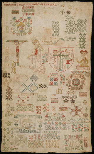 Sampler, unknown maker, 1500 – 1550, Germany. Museum no. T.114-1956. © Victoria and Albert Museum, London. Given by Admiral Sir Robert and Lady Prendergast.