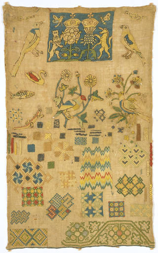 Sampler, unknown maker, 1625 – 50, England. Museum no. 1625-1650. © Victoria and Albert Museum, London