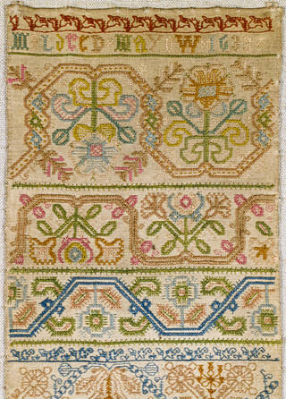 Sampler (detail), Mildred Mayow, 1633, England. Museum no. T.194-1927. © Victoria and Albert Museum, London
