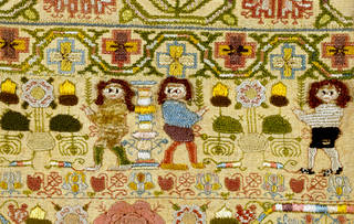 Sampler (detail showing 'boxer' figure), unknown maker, 1660, England. Museum no. T.217-1970. © Victoria and Albert Museum, London. Given by Lord Cowdray