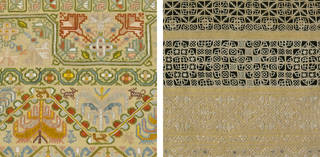 (Left): Sampler (detail), Martha Edlin, 1668, England. Museum no. T.433-1990. © Victoria and Albert Museum, London. Purchased with the assistance of the National Heritage Memorial Fund and Art Fund. (Right): Sampler (detail), Martha Edlin, 1669, England. Museum no. T.434-1990. © Victoria and Albert Museum, London. Purchased with the assistance of the National Heritage Memorial Fund and Art Fund