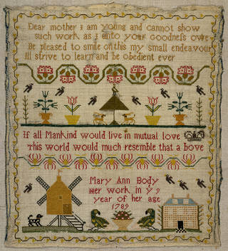 Sampler, Mary Ann Body, 1789, England. Museum no. T.292-1916. © Victoria and Albert Museum, London. Given by Frances M. Beach